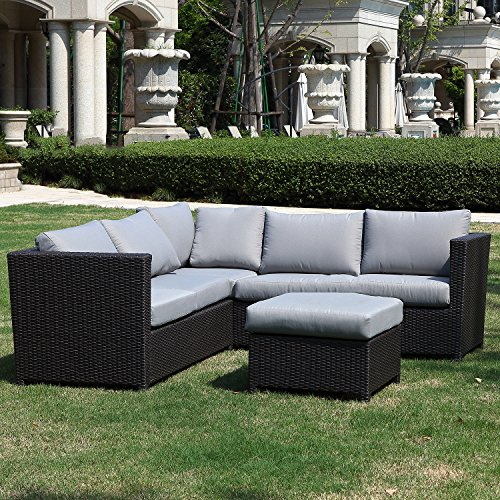 Cacaco 3 Pieces Outdoor Garden Furniture Modern Nature Patio Rattan Sofa Set With Coffee Table Waterproof Seat Cushions Green Lawn Garden Store