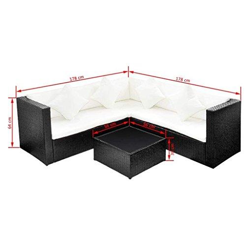 HomeDecor 17 Pieces Patio Outdoor Poly Rattan Sofa Lounge Couch, Black |  Green Lawn & Garden Store