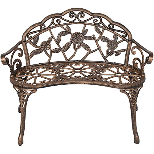 Outdoor Floral Rose Accented Patio Garden Bench Sturdy