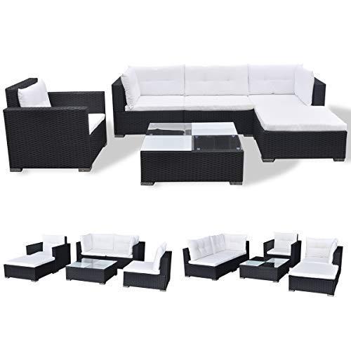 Vidaxl Outdoor Sofa Set 17 Piece Wicker Poly Rattan Black Garden Patio Lounge Green Lawn Garden Store